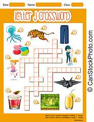 Letter J crossword template illustration