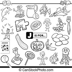letter J educational task coloring book page - Black and ...