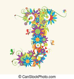 Letter J, floral design. See also letters in my gallery