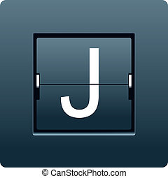 Letter J from mechanical scoreboard. Vector