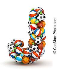 Letter J, gaming balls alphabet - Letter J, stacked from...