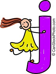 happy little girl climbing over giant letter J - lowercase version