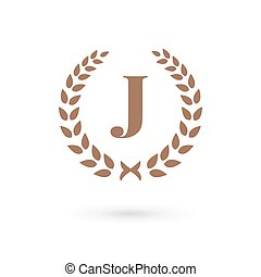 Letter J laurel wreath logo icon design template elements