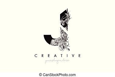 Letter J Logo Design Icon with Artistic Grunge Texture In Black and White