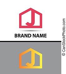 Letter j logo, real estate symbol