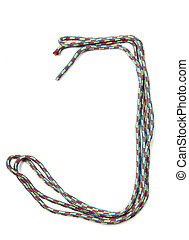 Letter j of cotton rope