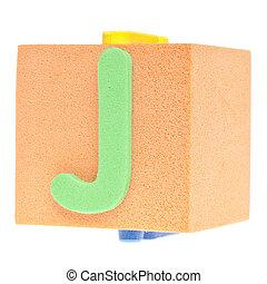 Letter J on Foam Block