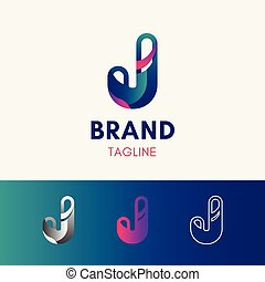 Letter J Rounded Logo template element symbol in multi color
