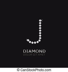 Letter J with gemstones