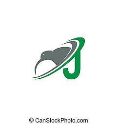 Letter J with kiwi bird logo icon design vector