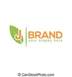 letter j with leaf on white background logo design template flat design