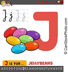Educational Cartoon Illustration of Letter J from Alphabet with Jellybeans for Children