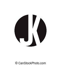 letter jk negative space logo vector