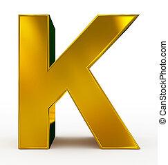 letter K 3d golden isolated on white