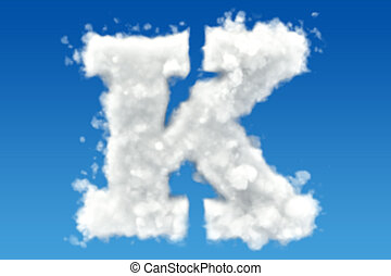 Letter K, alphabet from clouds in the sky. 3D rendering