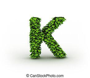Letter K, alphabet of green leaves isolated on white background, lowercase