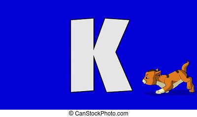 Letter K and Kitten (foreground) - Animated animal alphabet....