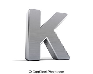 Letter K as a brushed metal 3D object