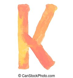 Letter  K Colorful watercolor aquarelle font type handwritten hand draw doodle abc alphabet letters Vector illustration.