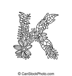 Letter K coloring book for adults vector