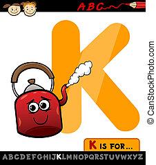 letter k for kettle cartoon illustration