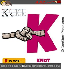 letter K from alphabet with cartoon knot