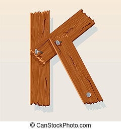 Letter K From vector Wooden Alphabet