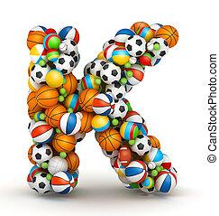Letter K, gaming balls alphabet - Letter K, stacked from...