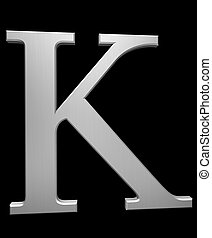 Letter K in brushed steel isolated on black with clipping path