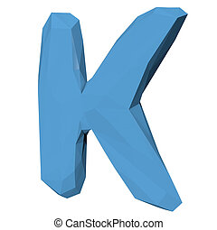 Letter K in Low Poly Style on white background.3D Rendering. Illustration
