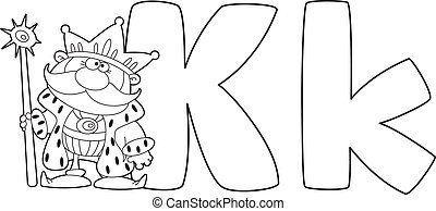 letter K king outlined
