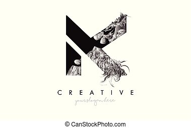 Letter K Logo Design Icon with Artistic Grunge Texture In Black and White