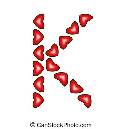Letter K Made Of Hearts