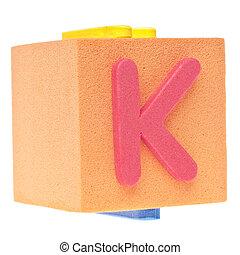 Letter K on Foam Block
