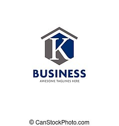 letter k real estate logo vector - letter K logo with...