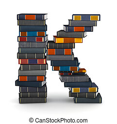 Letter K, stacked from many encyclopedy books in pile