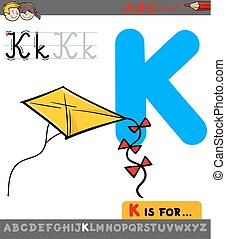 letter k with cartoon kite toy object