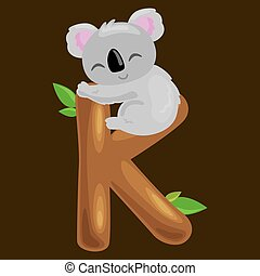 letter K with koala animal for kids abc education in preschool.