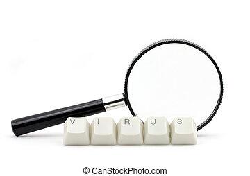 computer virus scan - letter keys close up, concept of...