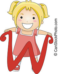 Illustration of a Kid Standing Behind a Letter W