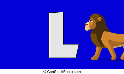 Letter L and Lion (foreground) - Animated animal alphabet....