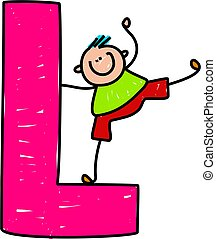 letter L boy - happy little boy balancing on a giant letter...