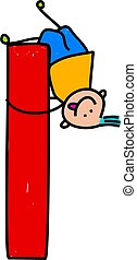 letter L boy - happy little boy climbing over giant letter L...