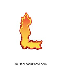 Letter L fire. Flames font lettering. Tattoo alphabet character. fiery sign alphabet
