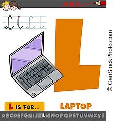 letter L from alphabet with cartoon laptop