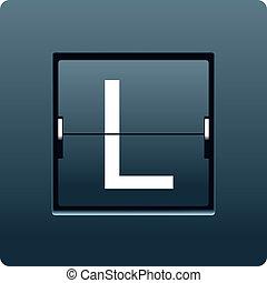 Letter L from mechanical scoreboard. Vector