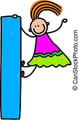 letter L girl - happy little girl climbing over giant letter...