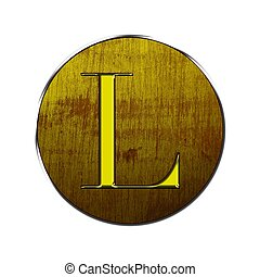 Letter L in wood and gold.