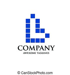 letter L logo square block concept