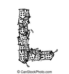 Letter L made from houses, vector alphabet design